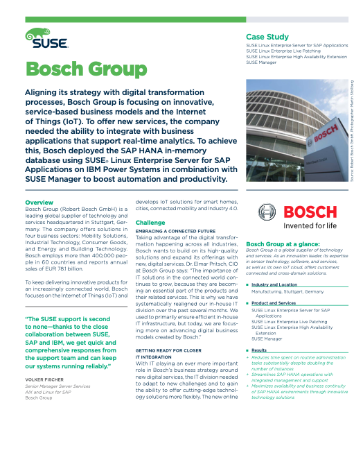 Bosch Groups runs SAP on SUSE