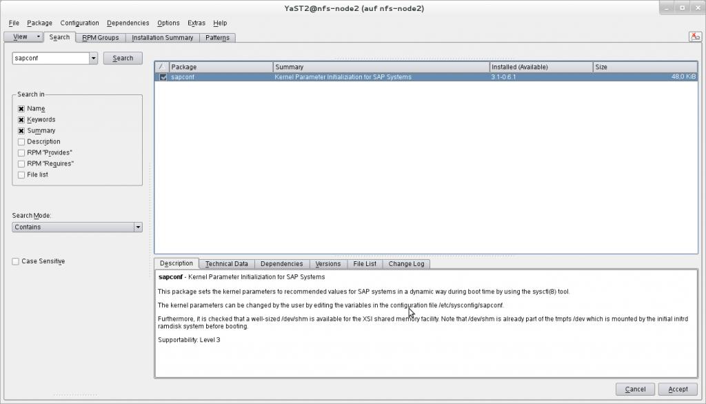Using sapconf to prepare a SUSE Linux Enterprise Server to