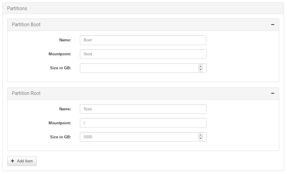 Form for managing partitions