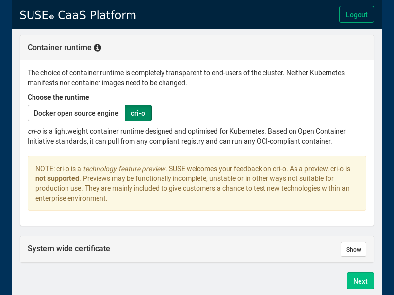 CRI-O Container Runtime on SUSE CaaS Platform 3 - SUSE