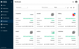 Stratos Console Workloads view in SUSE Stratos Console