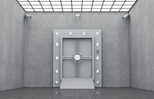 strong safe room stock photo, with cameras