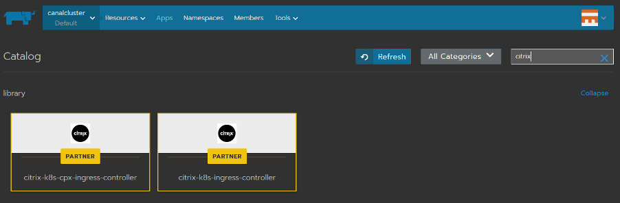 Citrix Ingress Controller charts in the default library of Rancher catalog