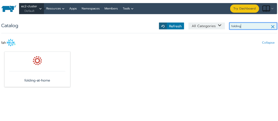 """You can find the Folding@home client in the Rancher catalog by searching """"folding"""""""