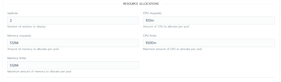 The chart options allow you to specify CPU and memory you are willing to donate