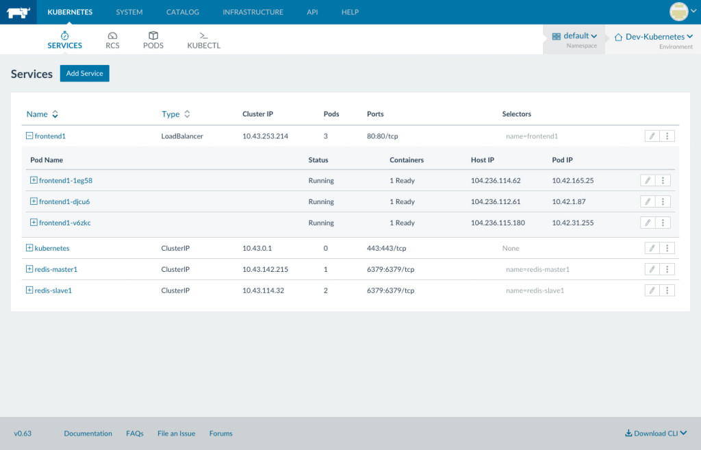 Managing Kubernetes services within Rancher